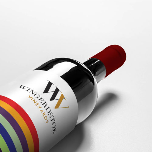Image of a red wine bottle with custom wrapper design
