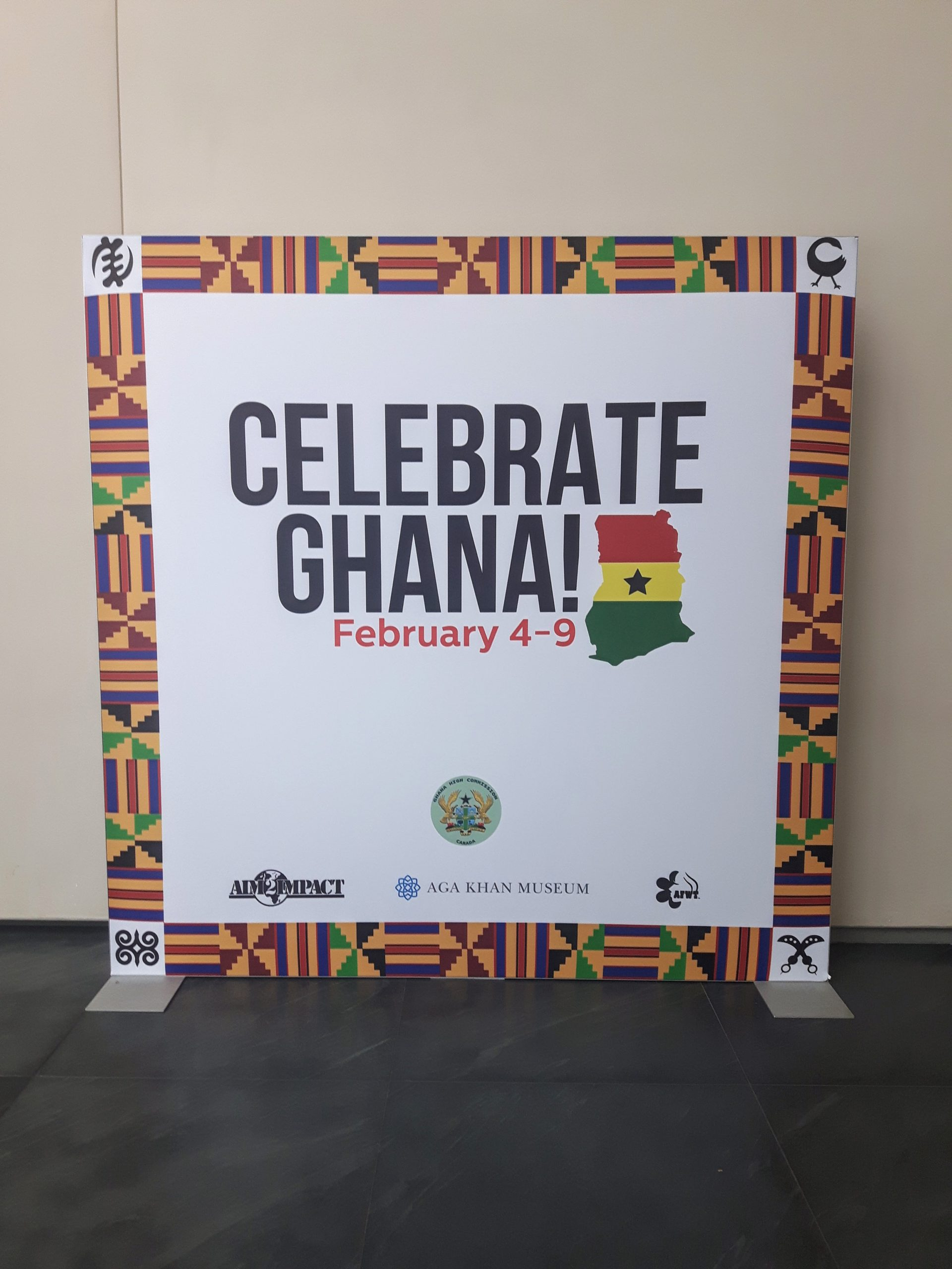 An 8x8 atrium sign for Ghana Week